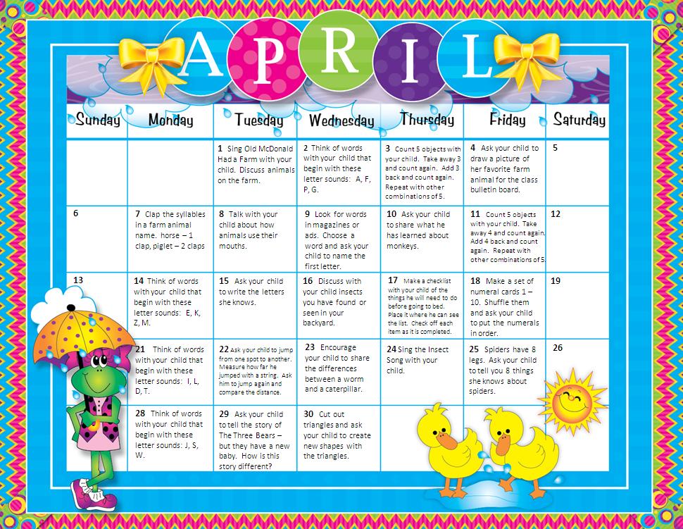 Kindergarten Readiness Calendar : Homework calendar hisd pre kindergarten