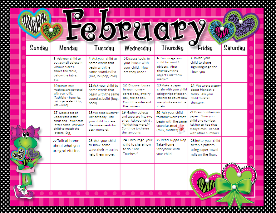 Homework Calendar Hisd Pre Kindergarten